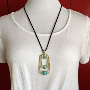 Lia Sophia Long Gold Turquoise Suede Necklace